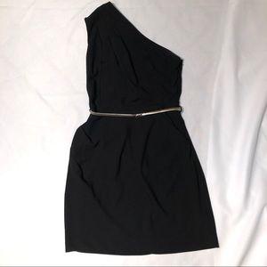 Black one Shoulder Dress with Pockets
